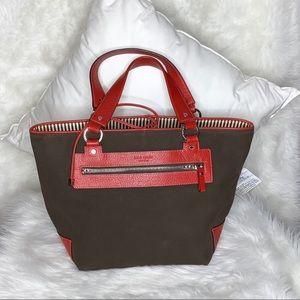 Kate Spade Brown Canvas Red Trim Leather Handbag